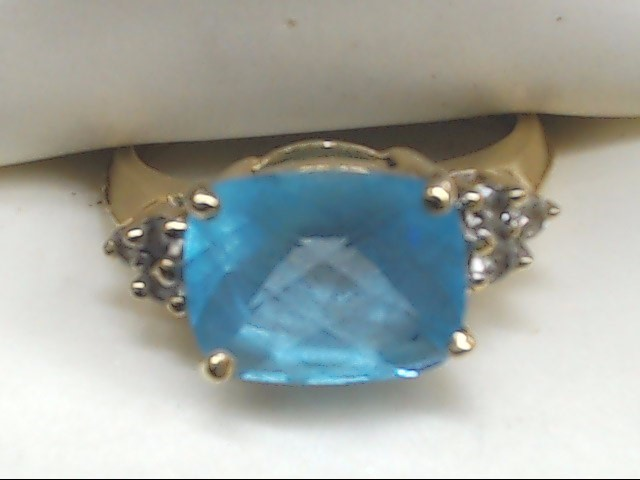 Blue Stone Lady's Stone Ring 10K Yellow Gold 2.8g Size:5.3