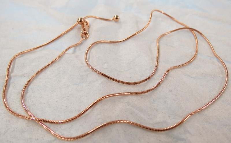 ROSE GOLD PLATED ADJUSTABLE SILVER ROPE CHAIN 22""