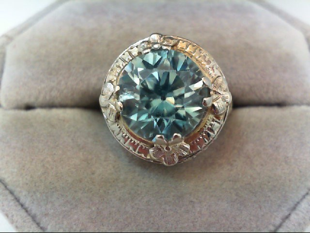 Blue Topaz Lady's Stone Ring 18K White Gold 5.7g