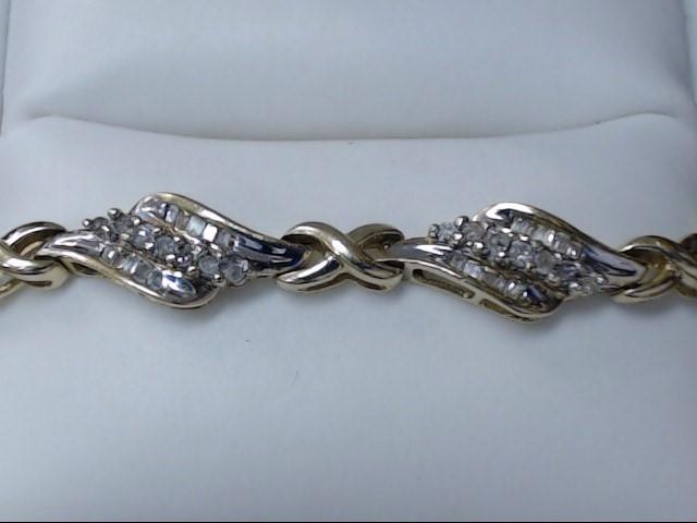 Gold-Diamond Bracelet 170 Diamonds 1.7 Carat T.W. 10K Yellow Gold 9.1g