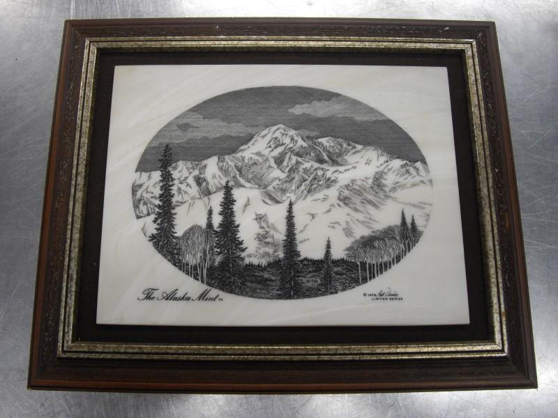 THE ALASKA MINT LIMITED SERIES BILL DEVINE SCRIMSHAW MOUNTAIN LANDSCAPE
