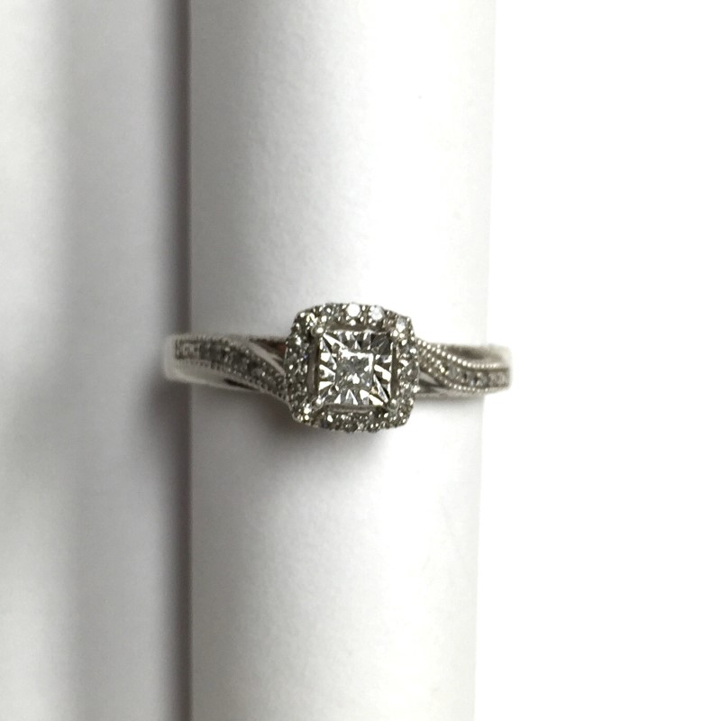 Lady's Diamond Engagement Ring 26 Diamonds .31 Carat T.W. 14K White Gold 2.3dwt