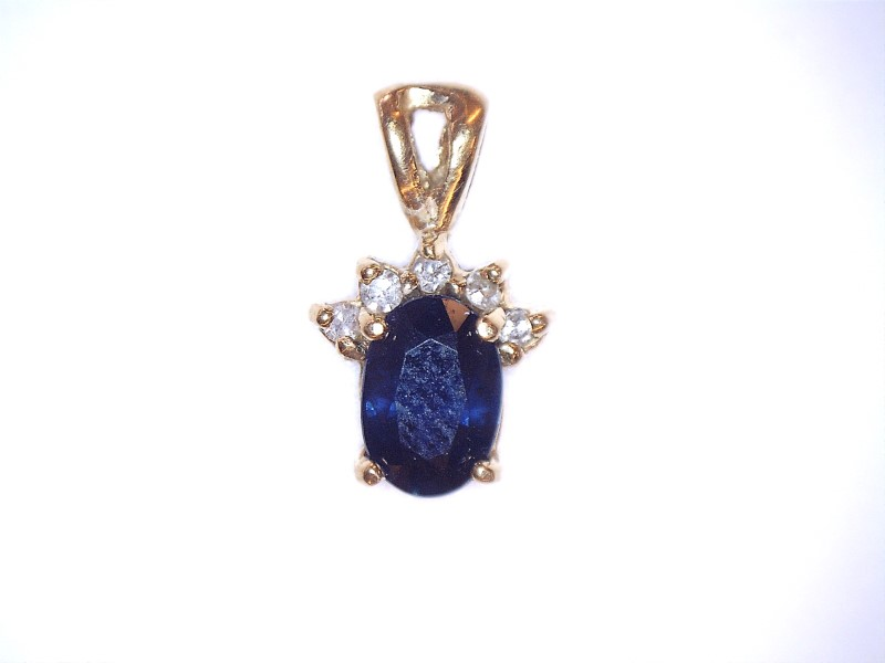 Sapphire Gold-Diamond & Stone Pendant 5 Diamonds .05 Carat T.W. 10K Yellow Gold