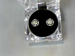 Gold-Diamond Earrings 18 Diamonds .18 Carat T.W. 14K White Gold 1.2dwt