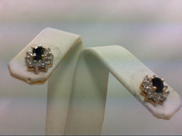 Sapphire Gold-Diamond & Stone Earrings 8 Diamonds 0.08 Carat T.W. 14K Yellow Gol