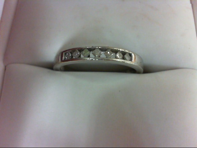 Lady's Diamond Wedding Band 7 Diamonds 0.21 Carat T.W. 10K White Gold 1.7g Size: