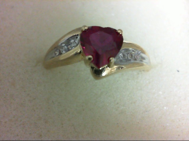 Synthetic Red Stone Lady's Stone & Diamond Ring 6 Diamonds 0.06 Carat T.W. 10K Y