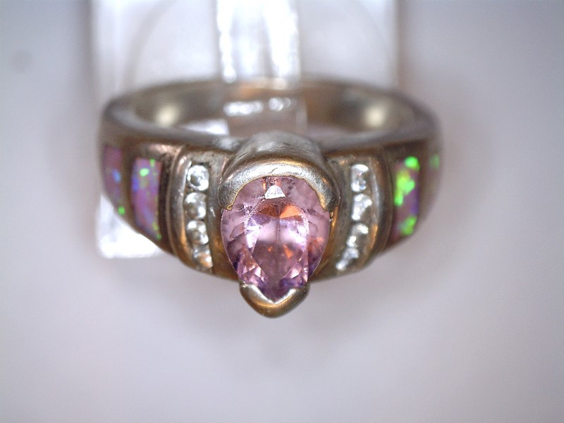 Pink Stone Lady's Silver & Stone Ring 925 Silver 4.92dwt Size:6