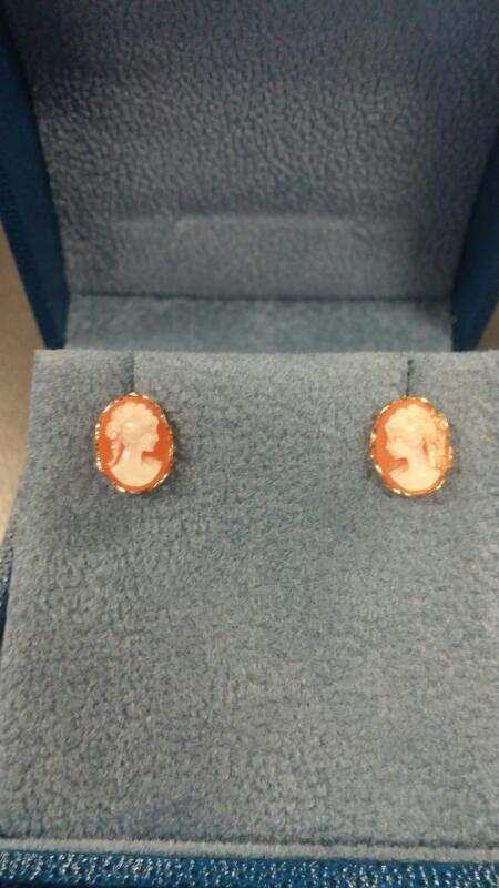 14 KT Gold Earrings CAMEO 14K Yellow Gold 0.5dwt