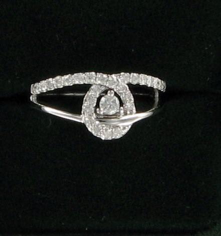 Lady's Diamond Fashion Ring 27 Diamonds 0.41 Carat T.W. 14K White Gold 3.1dwt