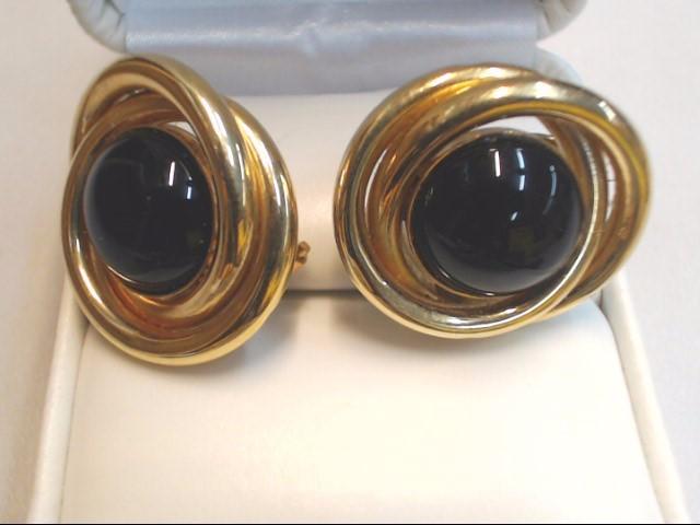 Black Stone Gold-Stone Earrings 14K Yellow Gold 7.9g