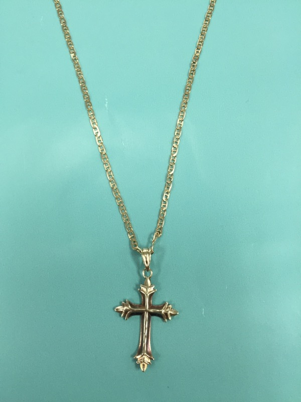 "21"" 14 KT YGLDCHAIN WITH KELTIC CROSS OVERALL 23.50"