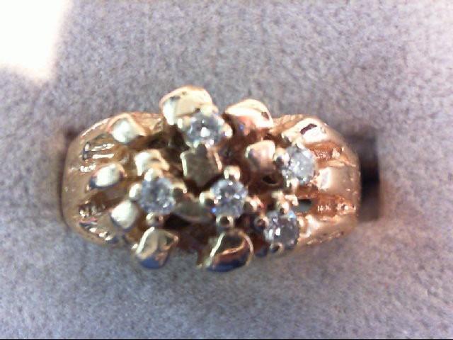 Gent's Diamond Fashion Ring 5 Diamonds .15 Carat T.W. 14K Yellow Gold 8.4g