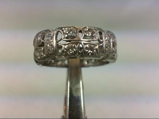 Lady's Gold-Diamond Anniversary Ring 20 Diamonds .80 Carat T.W. 14K White Gold