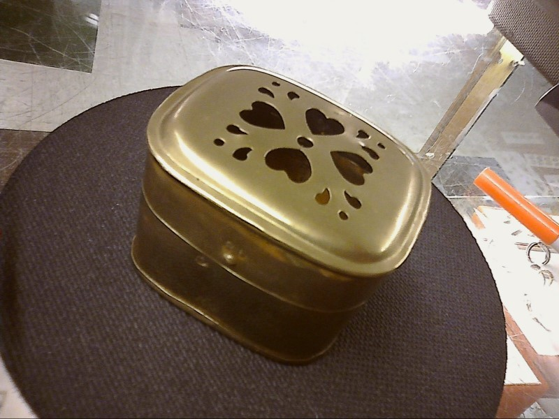 """SMALL BRASS HINGED BOX WITH HEARTS CUT OUT ON TOP 3"""" X 2-3/4"""""""