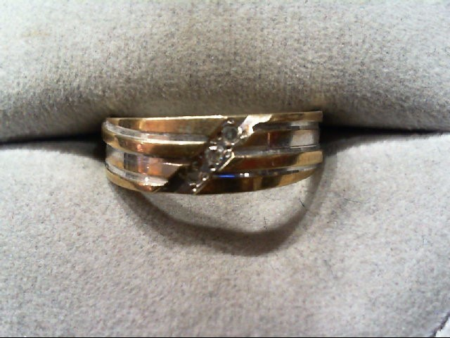 Lady's Diamond Wedding Band 3 Diamonds .03 Carat T.W. 10K 2 Tone Gold 2.3g