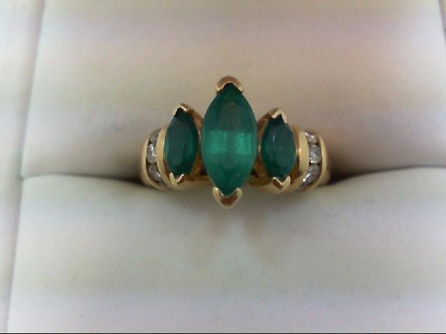 Emerald Lady's Stone & Diamond Ring 10 Diamonds 0.3 Carat T.W. 14K Yellow Gold 4