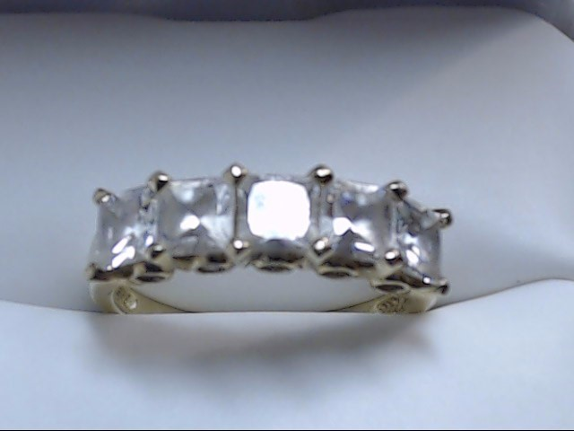 Synthetic White Stone Lady's Stone Ring 14K Yellow Gold 3g Size:6.5