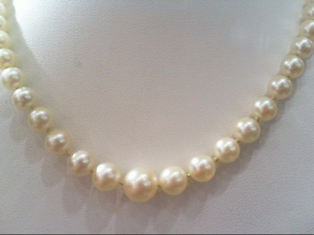 "18"" Pearl Strand Stone Necklace 14K White Gold 17.9g"
