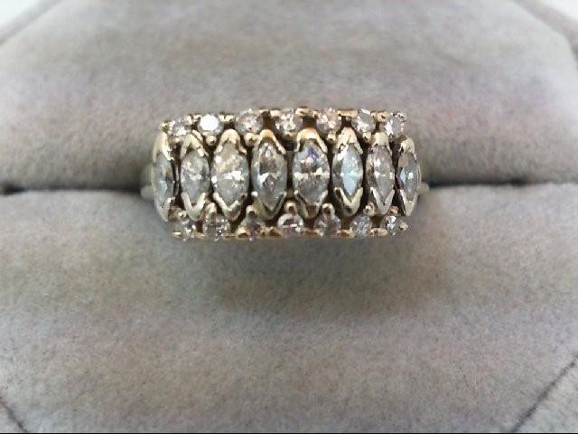 Lady's Diamond Cluster Ring 22 Diamonds 1 Carat T.W. 14K White Gold 4.3g