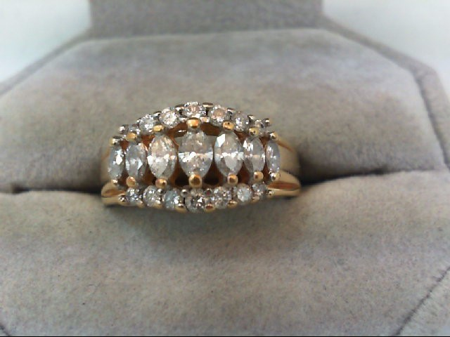 Lady's Diamond Cluster Ring 21 Diamonds .98 Carat T.W. 14K Yellow Gold 5.7g