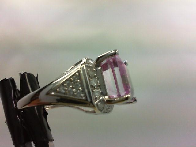 Synthetic Pink Stone Lady's Stone & Diamond Ring 30 Diamonds 0.6 Carat T.W. 14K