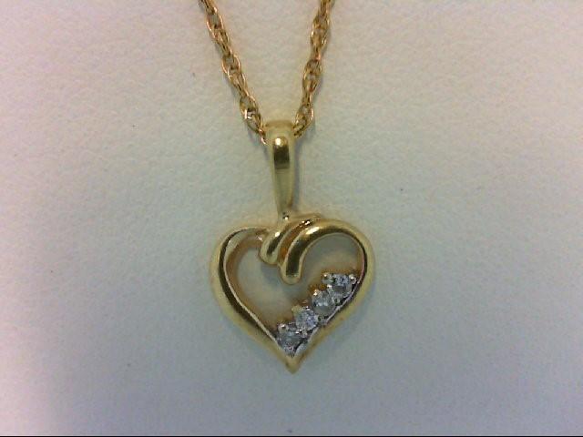 Gold-Multi-Diamond Pendant 4 Diamonds 0.04 Carat T.W. 14K Yellow Gold 0.7g