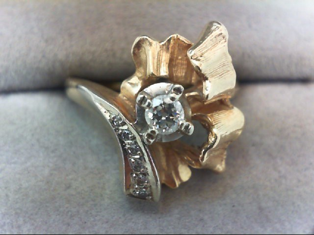 Lady's Diamond Fashion Ring 6 Diamonds .20 Carat T.W. 14K 2 Tone Gold 5.5g