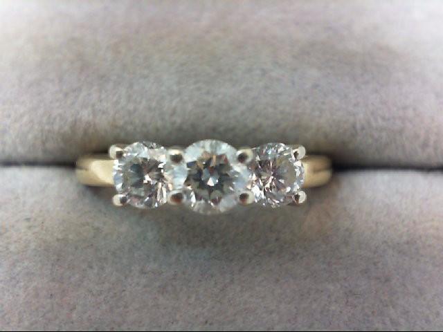 Lady's Gold-Diamond Anniversary Ring 3 Diamonds .92 Carat T.W. 14K Yellow Gold