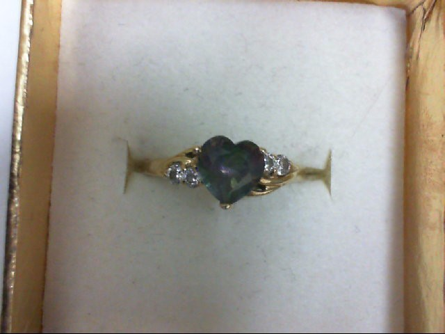 Synthetic Purple Stone Lady's Stone Ring 10K Yellow Gold 1.3g Size:6.75