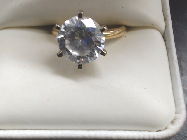 Synthetic Cubic Zirconia Lady's Stone Ring 14K Yellow Gold 3.9g Size:5.5