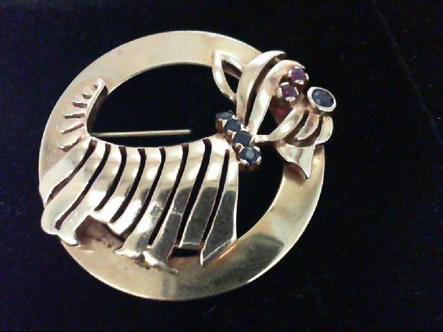 Sapphire Gold-Stone Brooch 10K Yellow Gold 9.9g