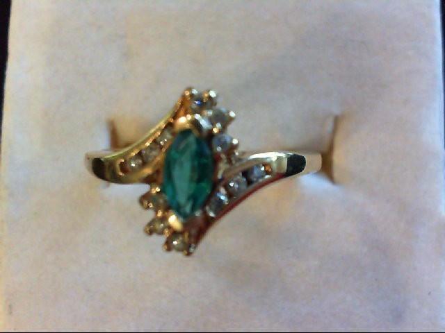 Lady's Stone & Diamond Ring 12 Diamonds 0.24 Carat T.W. 10K Yellow Gold 2.5g