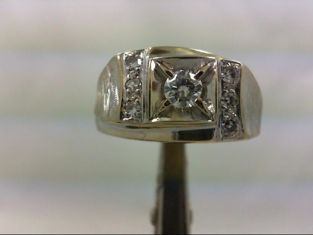 Gent's Diamond Fashion Ring 7 Diamonds .43 Carat T.W. 14K White Gold 10.33g
