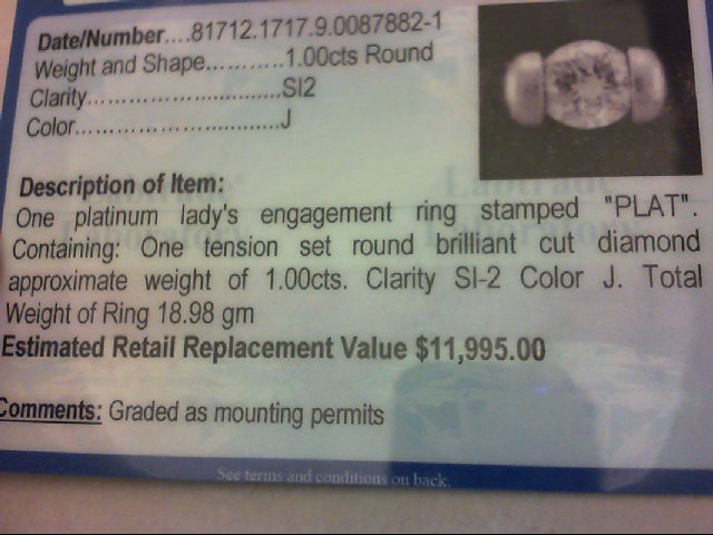 Lady's Platinum-Diamond Ring Guard 1.00 CT. 950 Platinum 18.98g