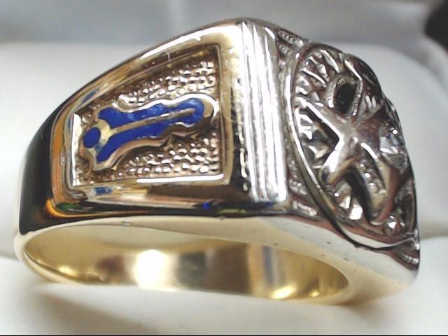 VINTAGE MASONIC DIAMOND RING SOLID REAL 10K GOLD MEN 11.6g SZ 10.5