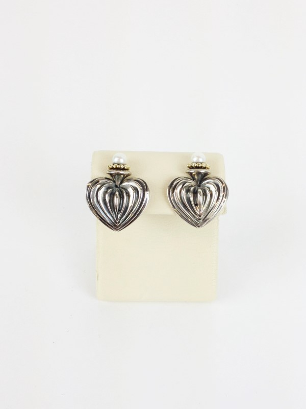 David Yurman Sterling Silver 18kt Pearl  Earrings 925 Silver 17.64g