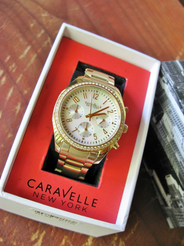 Caravelle Bulova Mother of Pearl Chronograph Mineral Glass Crystal Watch 44L114