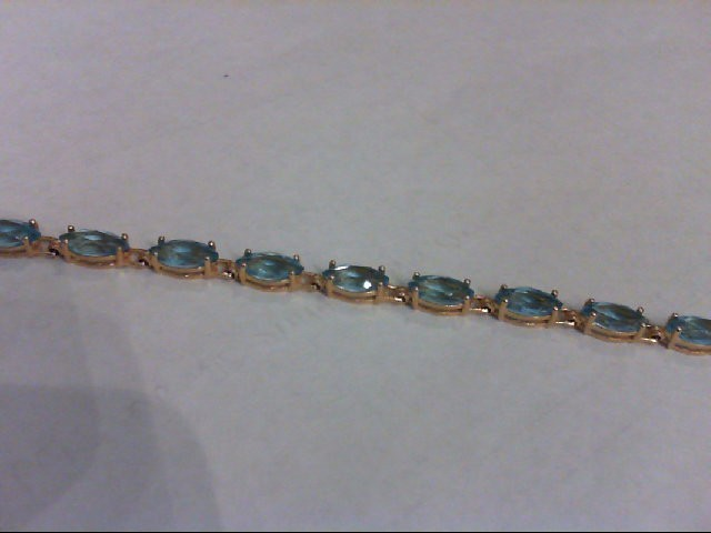 Blue Topaz Gold-Stone Bracelet 14K Yellow Gold 7g