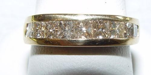 Gent's Gold-Diamond Wedding Band 9 Diamonds 1.80 Carat T.W. 14K Yellow Gold
