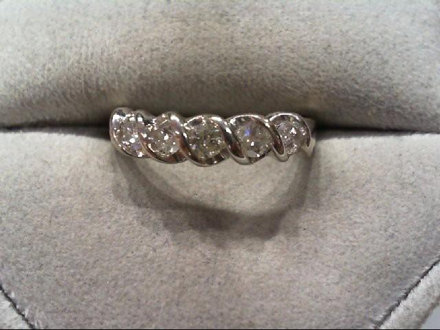 Lady's Diamond Wedding Band 5 Diamonds .50 Carat T.W. 14K White Gold 2.4g