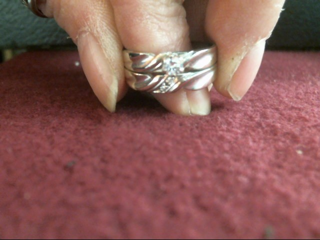 Lady's Diamond Wedding Set 3 Diamonds .16 Carat T.W. 14K White Gold 3.8dwt