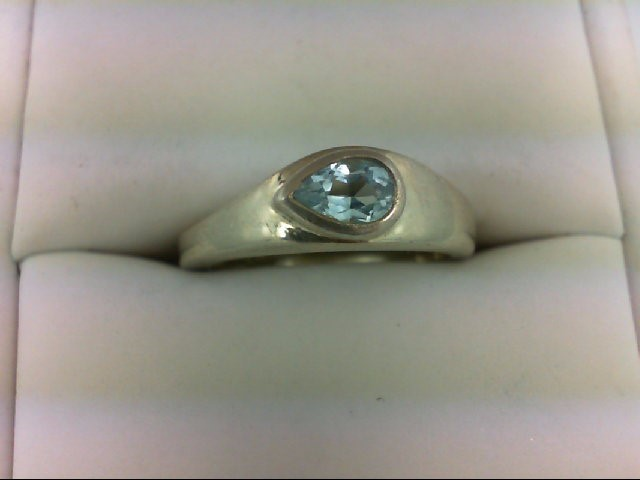 Blue Topaz Lady's Silver & Stone Ring 925 Silver 4.1g Size:7
