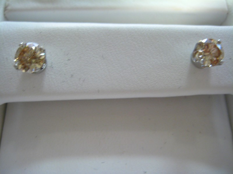 Gold Earrings 14K White Gold 1g