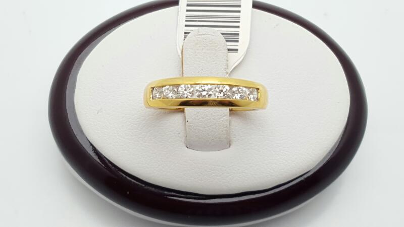 Lady's Gold-Diamond Anniversary Ring 7 Diamonds 0.52 Carat T.W. 18K Yellow Gold