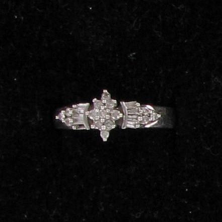 Lady's Diamond Fashion Ring 22 Diamonds .66 Carat T.W. 10K White Gold 1.6dwt