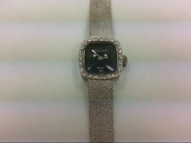 BULOVA Lady's Wristwatch DIOR 23 24 Diamonds 0.24 Carat T.W. 14K White Gold 20.7