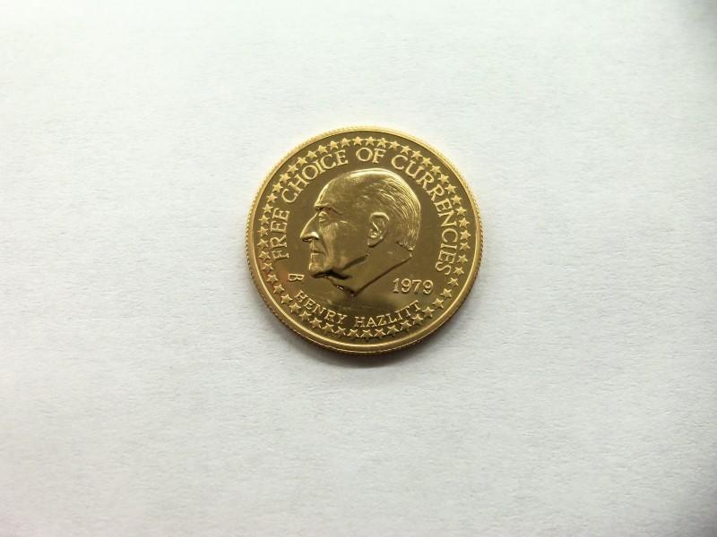 1979 HENRY HAZLITT FREE CURRENCIES $25 GOLD 1/4OZ