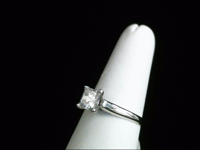 Lady's Diamond Solitaire Ring 1.11 CT. 14K White Gold 3.5g Size:8
