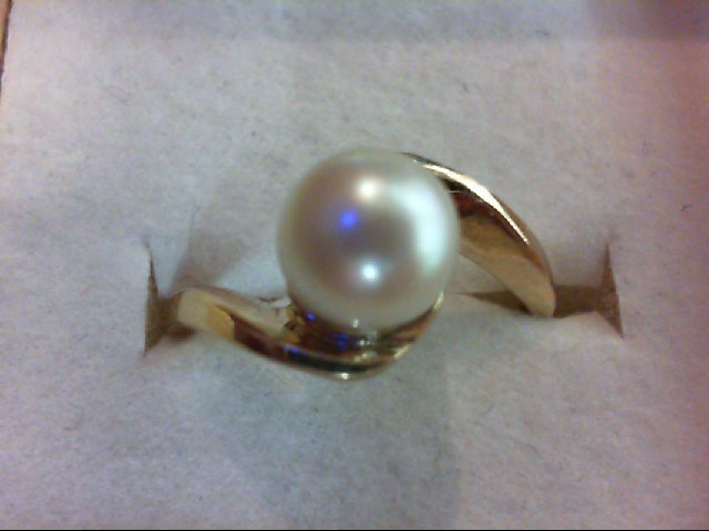 Pearl Lady's Stone Ring 14K Yellow Gold 3g Size:6.75
